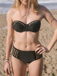 Alluring  Hollow Out Solid Color Women's Bikini Set - BLACK