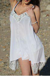 Spaghetti Strap Asymmetrical Backless Summer Dress - WHITE