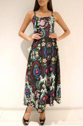 Spaghetti Strap Printed African Maxi Dress - GREEN