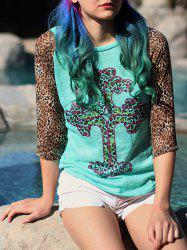 Stylish Leopard Print Scoop Neck 3/4 Sleeve T-Shirt For Women -