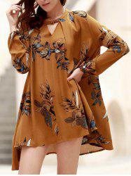 Long Sleeve Floral Print Asymmetric Flowy Dress - GINGER