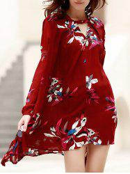 Long Sleeve Floral Asymmetric Flowy Dress