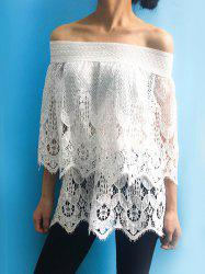 Women's Stylish Off The Shoulder Lace 3/4 Sleeve Cover-Up - WHITE S