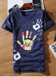 Casual Round Neck Colorful Palm Print Short Sleeves Slimming T-Shirt For Men -