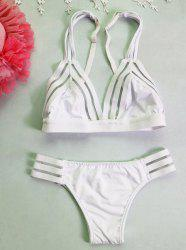 Charming Solid Color Cut Out   Bikini For Women -