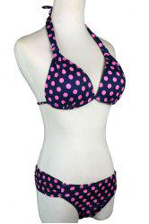 Stylish Halter Neck Polka Dot Women's Bikini Set