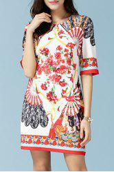 Retero Half Sleeve Round Neck Printed Women's Dress