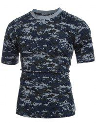 Men's Slim Fit Short Sleeves Camo Round Collar T-Shirt -