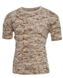 Men's Slim Fit Camo Short Sleeves Round Collar T-Shirt -