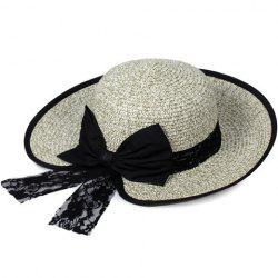 Bow Lace Covered Edge Straw Fedora Hat - GREEN