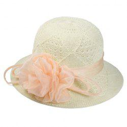 Chic Handmade Yarn Flower Knitted Rhombus Bucket Hat For Women -