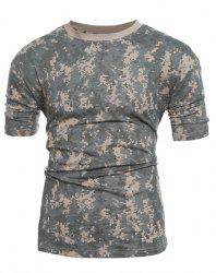Slim Fit Short Sleeves Camo Round Collar T-Shirt For Men -