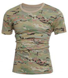 Slimming Short Sleeves Camo Round Collar T-Shirt For Men -