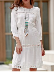 Ladylike Round Collar 3/4 Sleeve White Hollow Out Dress For Women