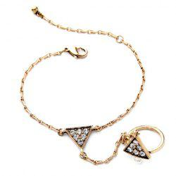 Vintage Rhinestone Triangle Bracelet With Ring For Women -
