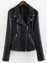 Chic Turn-Down Collar Black Riveted PU Leather Long Sleeve Jacket For Women
