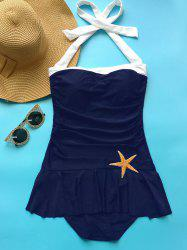 Vintage Halter Neck Ruffled One Piece Swimwear - BLUE