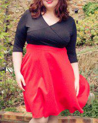Plunging Neck 3/4 Sleeve Plus Size Skater Dress - RED XL