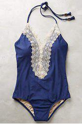 Stylish Halterneck Lace Spliced Swimsuit For Women