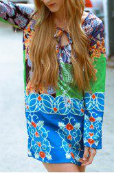 Fashionable Plunging Neck Long Sleeve Colorful Printed Chiffon Dress For Women - COLORMIX