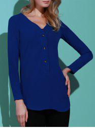 Casual Solid Color V-Neck Long Sleeve Loose Blouse For Women