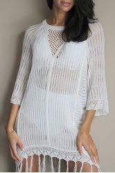 Sexy Scoop Neck Openwork Fringed Cover Up For Women - WHITE