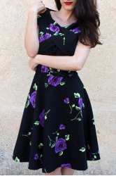 Retro Style V-Neck Rose Print Short Sleeve Ball Dress For Women - PURPLE