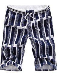 Casual Straight Leg Special Stripes Print Color Block Lace-Up Shorts For Men -