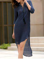 Fashionable Plunging Neck 3/4 Sleeve Lace-Up High-Low Hem Dress For Women -
