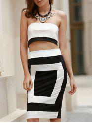 Sexy Strapless Sleeveless Black and White Spliced Tube Top + Sheathy Skirt Twinset For Women -