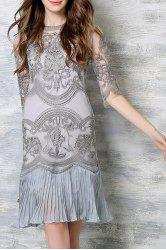 Chic Spaghetti Strap Solid Color Tank Top + 3/4 Sleeve Embroidered Pleated Dress Women's Twinset - LIGHT GRAY