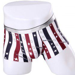 Elastic Waist Stripe and Stars Pattern Comfortable Boxer Brief For Men -