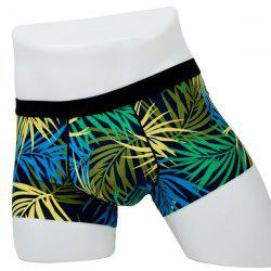Elastic Waist Leaves Printed Comfortable Boxer Brief For Men -