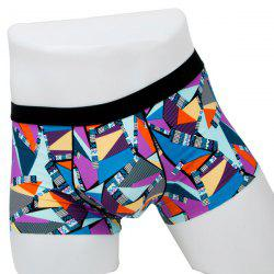 Elastic Waist Geometric Printed Spliced Comfortable Boxer Brief For Men -