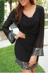 Cowl Neck Long Sleeve Sequins Dress - BLACK