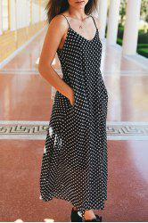 Bohemian Polka Dot Baggy Maxi Slip Dress - BLACK