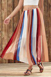 Stylish High Waist Color Block Chiffon Women's Skirt - COLORMIX S