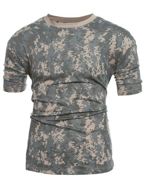 Discount Slim Fit Short Sleeves Camo Round Collar T-Shirt For Men