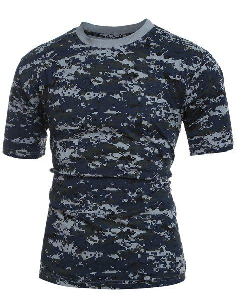 New Men's Slim Fit Short Sleeves Camo Round Collar T-Shirt