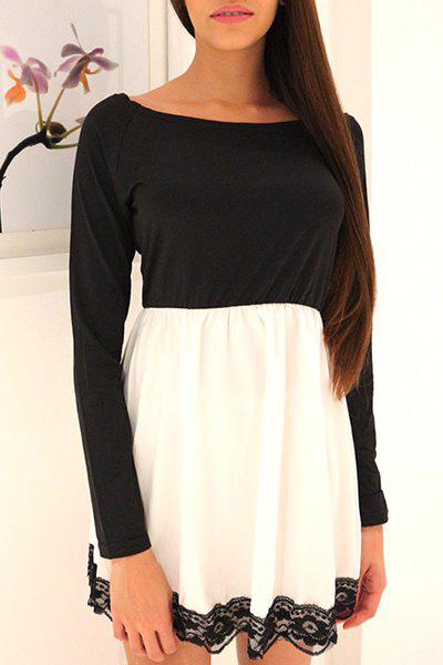 Lace Hem Long Sleeve Skater Mini Tunic DressWOMEN<br><br>Size: M; Color: WHITE AND BLACK; Style: Casual; Material: Cotton Blend,Polyester; Dresses Length: Mini; Silhouette: A-Line; Neckline: Off The Shoulder; Sleeve Length: Long Sleeves; Pattern Type: Patchwork; With Belt: No; Season: Fall,Spring; Weight: 0.220kg; Package Contents: 1 x Dress;