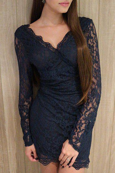 Hot Plunge Long Sleeve Lace Mini Bodycon Dress
