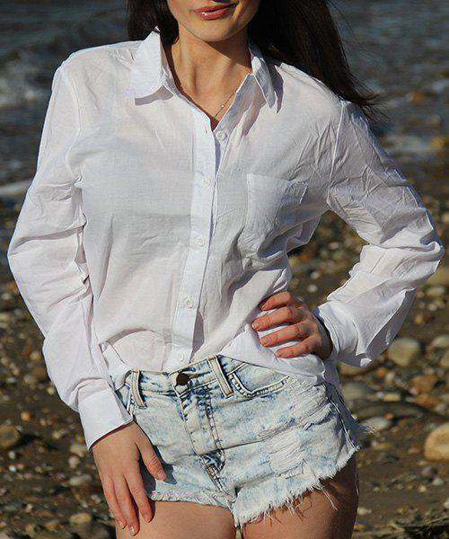 Plain Long Sleeves Loose-Fitting Formal ShirtWOMEN<br><br>Size: XL; Color: WHITE; Style: Fashion; Material: Cotton Blends; Shirt Length: Long; Sleeve Length: Full; Collar: Shirt Collar; Pattern Type: Solid; Weight: 0.125kg; Package Contents: 1 x Shirt;