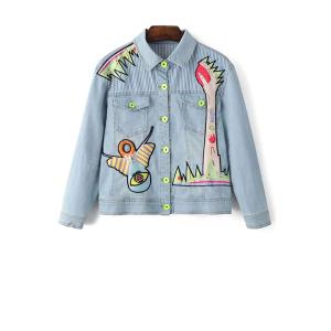 Stylish Shirt Collar Long Sleeve Denim Embroidery Jacket For Women - Light Blue - Xs