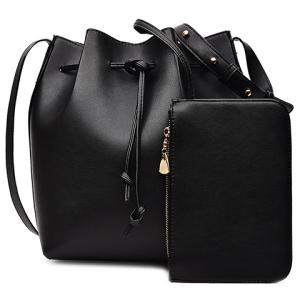 Leisure Solid Color and String Design Crossbody Bag For Women - Black - 37