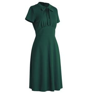 Bow Tie Neck Fit and Flare Dress -