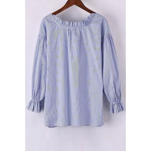 Stylish Round Neck Long Sleeve Sweet Striped Women's Blouse