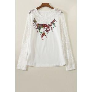 Stylish Round Collar Long Sleeve Lace Spliced Printed T-Shirt For Women - White - L
