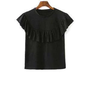 Stylish Round Neck Short Sleeve Solid Color Flounce Ruffles Women's T-Shirt