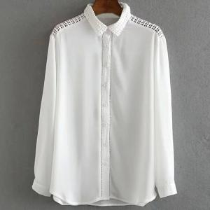 Fashionable Shirt Collar Long Sleeve Pure Color Mesh Splicing Women's Shirt