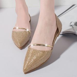 Trendy Solid Colour and Sequined Cloth Design Flat Shoes For Women -